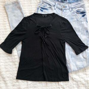 Topshop Lace Up Shirt